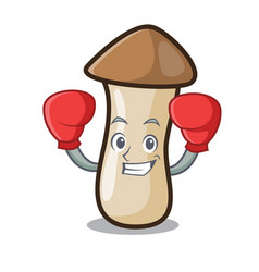 Boxing pleurotus erynggi mushroom character vector