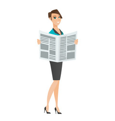 Business woman reading newspaper vector
