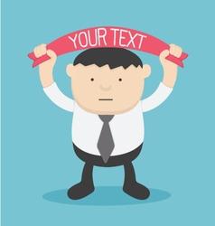 Businessman holding labels tour text vector