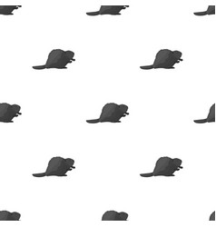 canadian beaver canada single icon in monochrome vector image