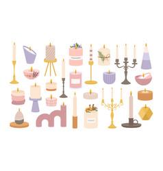 candles in candlesticks vintage old candelabras vector image