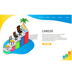 Career growth landing page website template vector