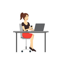 cartoon character woman works at the computer vector image