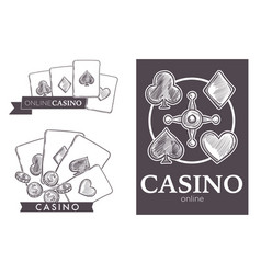 Casino online club isolated sketch icons gambling vector