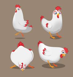 chicken animal cartoon pose set vector image vector image
