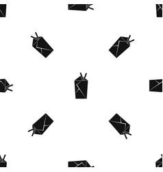 Chinese food box pattern seamless black vector