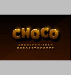 chocolate latin alphabet typography comic logo vector image