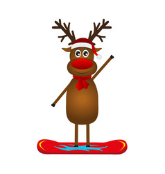 christmas reindeer on a snowboard vector image