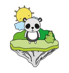 color happy panda animal in the float island vector image