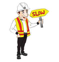 construction worker holding slow sign vector image