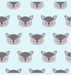 Cute kids wolf pattern for girls and boys vector
