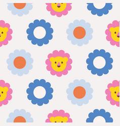 Daisy polka dot seamless pattern with bright vector
