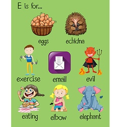 Different words for letter E vector