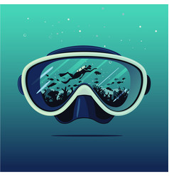 Diving mask with scuba diver on reflection vector