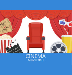 drinks and popcorn glasses for movie vector image