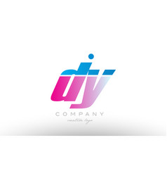 Dy d y alphabet letter combination pink blue bold vector