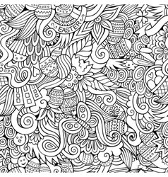 Easter doodles seamless pattern vector image