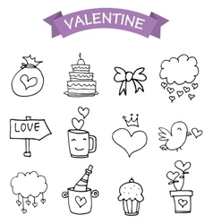 element valentine day icons vector image