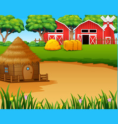 Farm landscape with shedwindmill and a hut vector