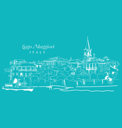 Freehand digital drawing lago maggiore italy vector