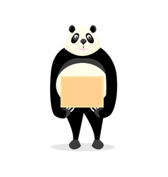 Funny panda holding a sign vector