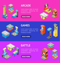 game machine 3d banner horizontal set isometric vector image