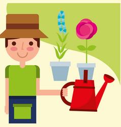 gardener boy farm work vector image