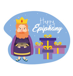gaspar magician king with presents and incense vector image