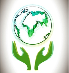 Globe abstract icon with green hands vector