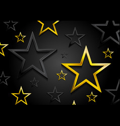 Golden and black shiny stars background vector