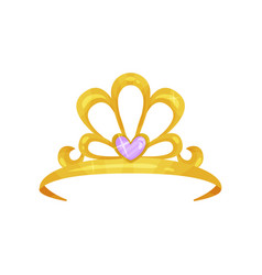 golden queen crown with precious purple stone in vector image