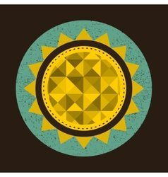 Golden sun in retro style with triangles vector image