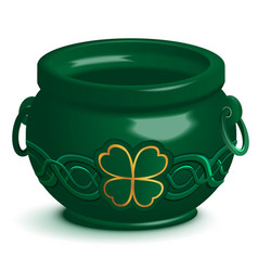 Green empty pot with leaf clover ornament st vector