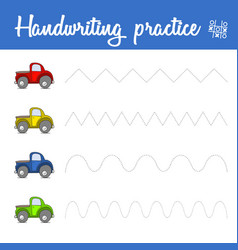 Handwriting practice sheet with cars train basic vector