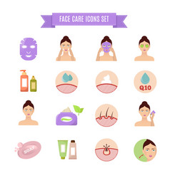 Healthy skin and care flat icons vector