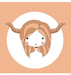 Horoscope Taurus sign girl head vector image