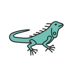 Iguana color icon vector