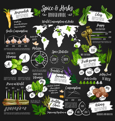 Infographic for spice and herb statistics poster vector