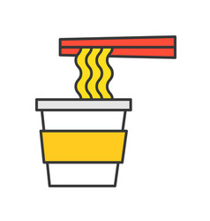 Instant noodle cup and chopsticks food and vector