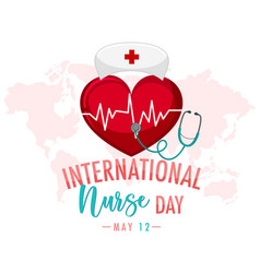 International nurse day logo with big heart vector