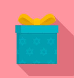 jewish gift box icon flat style vector image