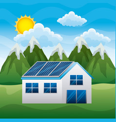 landscape mountains house with panel solar in roof vector image