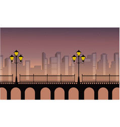 Landscape of town with street lamp on bridge vector
