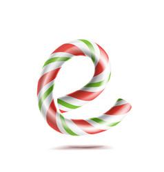 Letter e 3d realistic candy cane alphabet vector