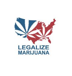 marijuana leaf on usa map vector image