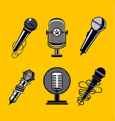 Microphone icon set vintage mic collection vector