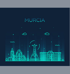 murcia skyline spain drawn linear style vector image