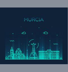 Murcia skyline spain drawn linear style vector