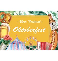 Oktoberfest frame design pretzel beer vector