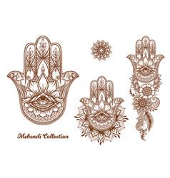 Ornate hand drawn hamsa set vector